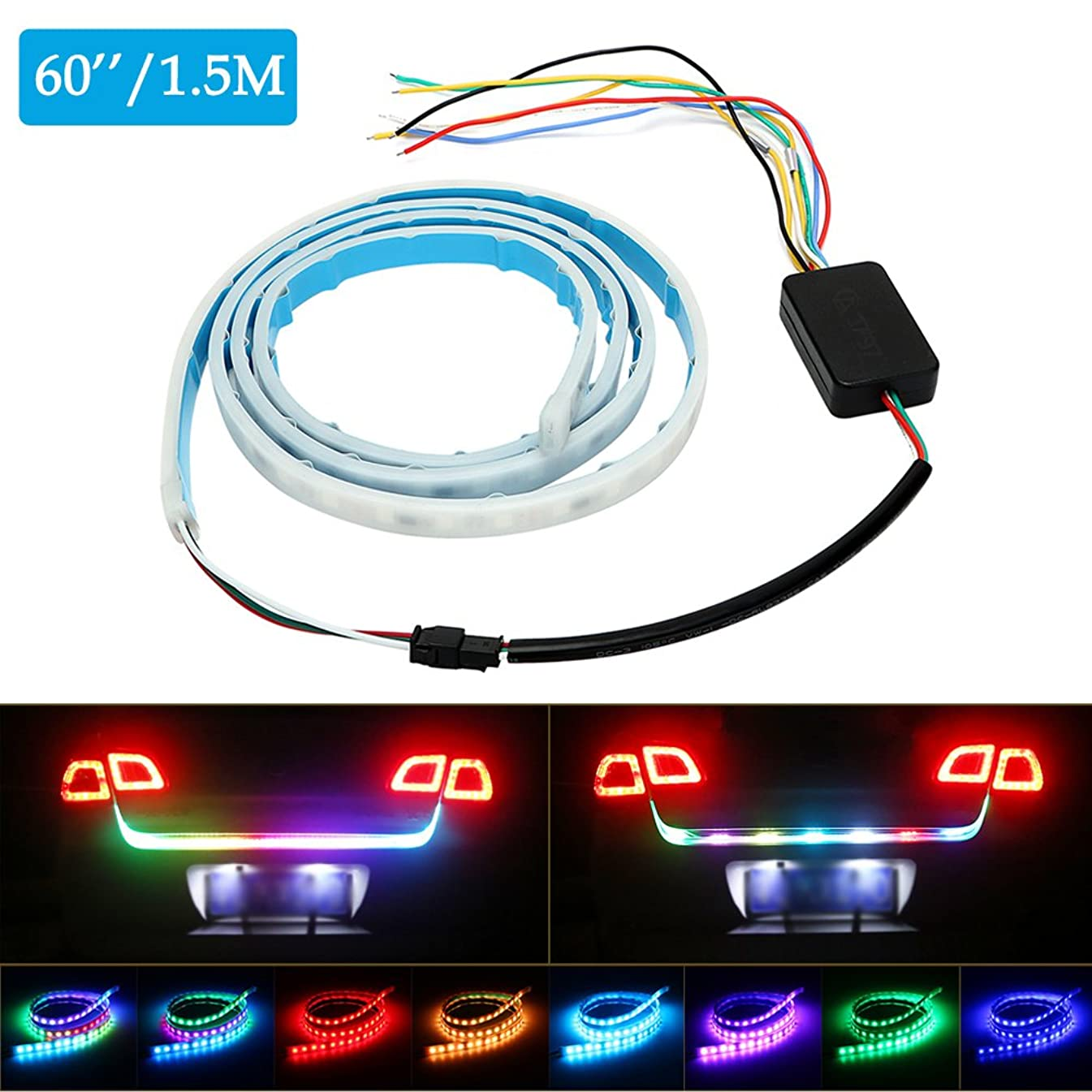 Tailgate Light Bar Car Strip Tail Flowing Turn Signal Warning Safety RGB LED Lamps Waterproof Universal Red Blue Modification Flash Proximity Anti Collision Dash Strobe 4.9ft 1pc【1797】