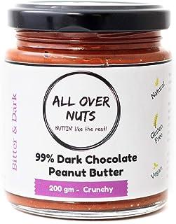 All Over Nuts 99% Dark Chocolate Peanut Butter, 200 gm Crunchy (Stone Ground, Gluten Free, Vegan)