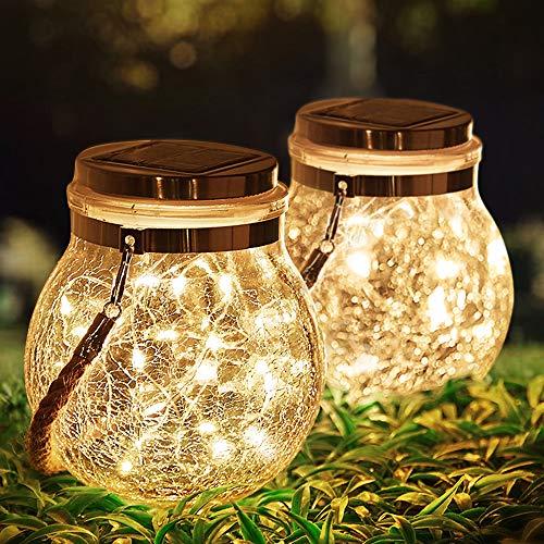 KOTONAMI Solarlaterne für den Außenbereich, 2 Stück Solarleuchten für den Garten Wasserdicht LED-Lichter, Solar Feenlichterkette für Weihnachten Hochzeit Party Camping Bar, Warmweiß