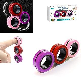 TornadoZ Magnetic Finger Ring Fidget Magnet Toys | Magnetic Blocks, Finger Hand Spinner Stacking Toy Set, Magnetic Bracele...