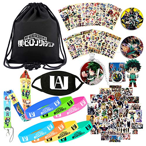 My Hero Academia Backpack Set for Anime Fans Drawstring Bag Face Mask Silicone Bracelet Sticker Lanyard Necklace Keychain Pins Phone Ring
