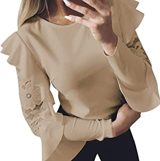 Women's Solid Long Sleeve Lace Stitching O-Neck T-Shirt Pullover Tops Blouse