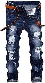 Mens Denim Distressed Slim Fit Ripped Straight Moto Biker Jeans