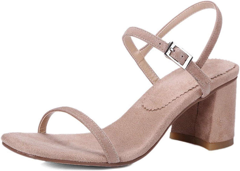 Women Sandal Square High Heel Platform Buckle Black Women shoes Genuine Leather shoes