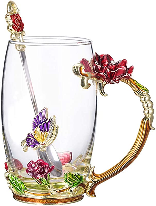 COAWG Flower Glass Tea Mug With Spoon Lead Free Handmade Enamel Rose And Butterfly Clear Glass Coffee Cup With Handle Unique Christmas Birthday Gift For Women Mom Grandma Female Friend Red 12oz