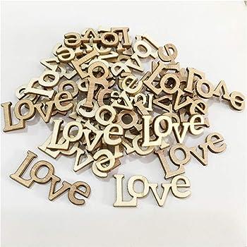 25mm Confettis love en bois style shabby chic et vintage Bois dense 25/mm marron