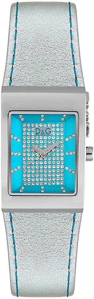 Dolce & gabbana,orologio da donna,cassa in acciaio inossidabile con cristalli all`interno e cinturino in pelle DW0157