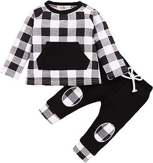 puseky 2 Piezas Bebé Niños Pequeños Trajes a Cuadros Camisa de Manga Larga Sudadera + Pantalones Conjunto de Ropa de Otoño