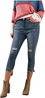 Womens High Waisted Hole Long Pants Pocket Denim Jeans Stretch Length Jeans