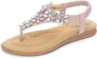 4a128630ed6665 Gracosy Sandales Été Femmes, Chaussures de Ville Plates Tongs Nu Pieds à  Talons Plats Semelles