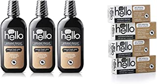Hello Oral Care Activated Charcoal Bundle: Alcohol Free Mouthwash (3 ct) and Fluoride Whitening Toothpaste (4 ct)