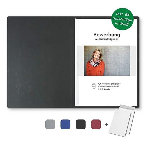5 Umschläge 5 Bewerbungsmappen Grau 3-teilig feinste Lederstruktur Set inkl