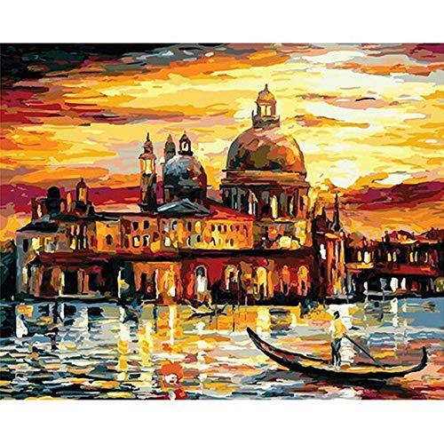 Pintar por Numeros Adultos DIY Kit Facil para Niños Lienzo Cielo Dorado de Venecia 40x50 cm