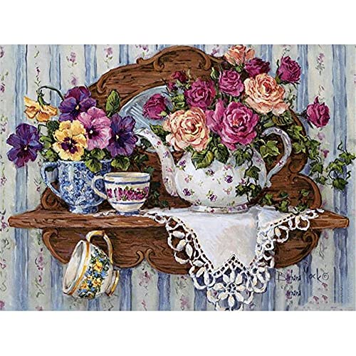 DIY 5D Diamond Painting Kits for Adults/Kids,Teapot Home 70x100cm/28x40inch Square Drill Diamond Painting Full Drill Cross Stitch Crystal Rhinestone Embroidery Pictures Arts Craft for Home Wall Decor