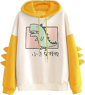 Sudadera con Capucha de Manga Larga con Estampado de Dinosaurio y Alfabeto japonés Kawaii para Love niñas y Mujer, Cómodo ...