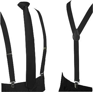 Solid Color Suspender and 100% Silk Skinny Tie Sets for Men