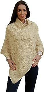Kerry Woollen Mills Women's Aran Wool Poncho Made in Ireland
