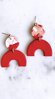 Red Clay Earrings/Modern Abstract Dangles Design/Lightweight Dangle and Drop Hypo-allergenic/Statement Earrings/Valentine Gift for her