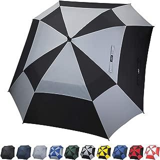 G4Free Extra Large Golf Umbrella 62 inch Vented Square Umbrella Windproof Auto Open Double Canopy Oversized Stick Umbrella