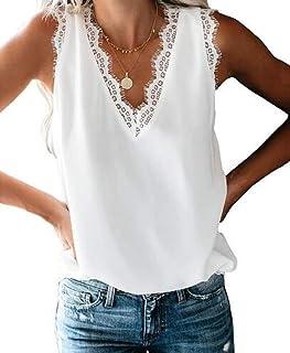 Women Sleeveless Summer Lace V Neck Tank Top Cami Blouse Shirt