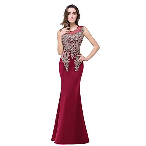 bd8ff8f27cb MisShow Women s Rhinestone Long Lace Formal Mermaid Evening Prom Dresses