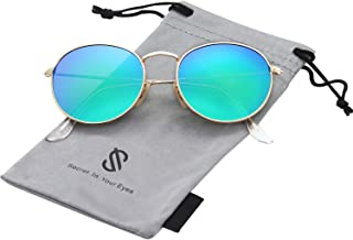 Small Round Polarized Sunglasses Mirrored Lens Unisex...