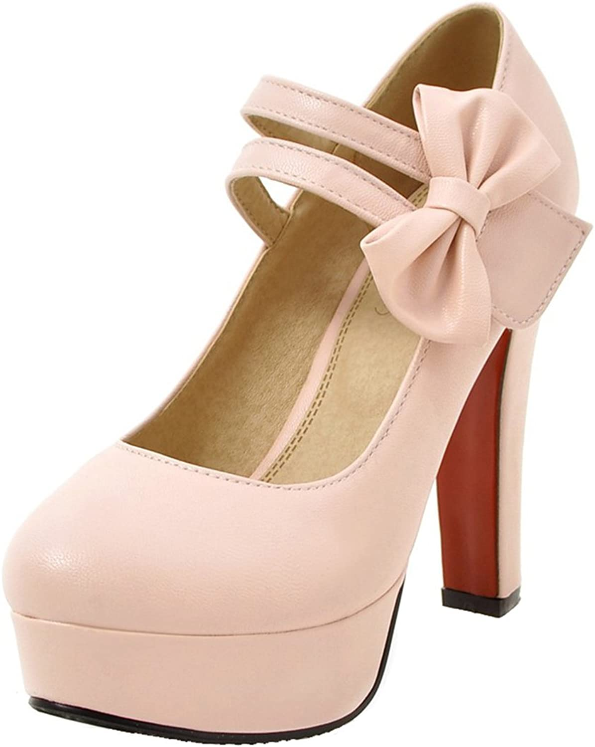 AIYOUMEI Women's Mary Jane Block Heel Platform Pumps shoes with Bows