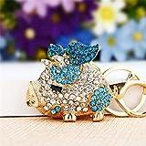 Pretty Sparkling Pig Piggy Keychain Keyring Crystal Rhinestones Purse Pendant Handbag Charm (Blue)