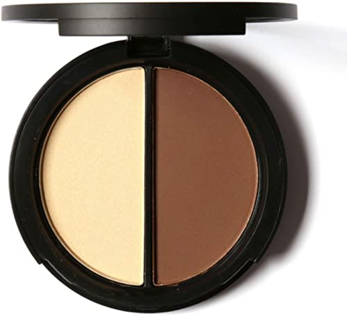 Mallofusa Portable Makeup Highlighter Powder Shimmer Contour Cosmetic Palette 0.29 Ounce Two-colored #1
