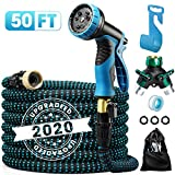 Delxo 2020 Upgrade 50FT Expandable Garden Hose Water Hose with 9-Function High-Pressure Spray Nozzle, Heavy Duty Flexible Hose, 3/4' Solid Brass Fittings Leakproof Design