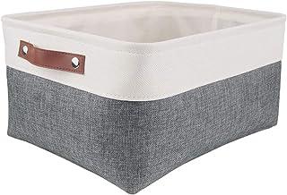 MANGATA Panier de rangement pliable, grande boîte de rangement en tissu avec poignées pour armoire, étagères, placard (L, ...