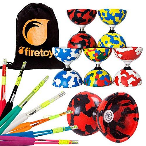 Juggle Dream Jester Bearing Diabolo + Superglass Fibreglass Diablo Sticks & String with Firetoys Bag! Huge Color Selection (Red/Black Diabolo, Blue Sticks)