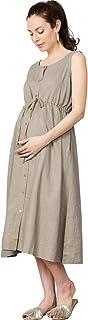 Sweet Mommy Maternity and Nursing Breastfeeding Fall Winter Casual Cotton Linen Midi Dress