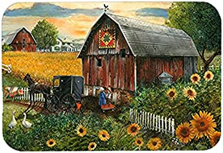 Caroline's Treasures PTW2003LCB Sunflower Country Paradise Barn Glass Cutting Board, Large, Multicolor