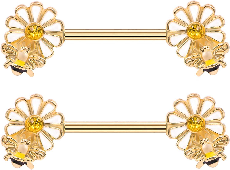 Flower Bee Nipple Barbell 14G Surgical Steel Nipplerings Piercing PVD Yellow CZ Nipple Ring Body Piercing Jewelry