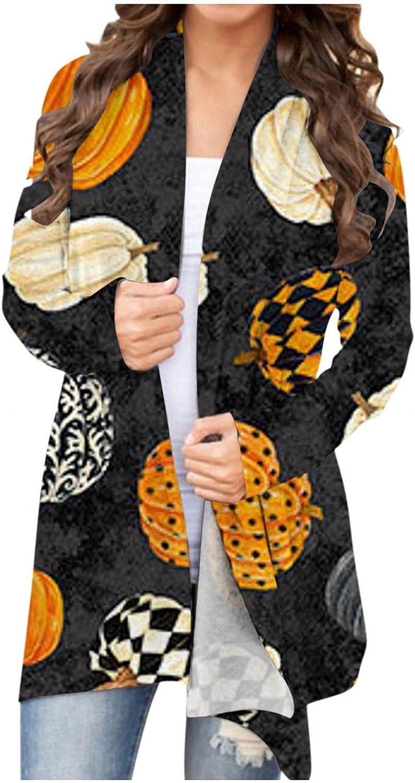 Masbird Womens Halloween Cardigan, Womens Cute Lightweight Coat Long Sleeve Open Front Pumpkin Ghost Plus Size Tops