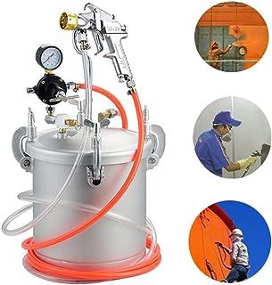 YUNSHINE El tanque de alta presión y la pistola de pintura con pistola de aire comprimido con manómetro y tubo de pintura para pintura comercial industrial Pintura colorida de látex (10L)