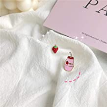 Asymmetric Fun S925 Silver Pin Small Stud Earrings/Strawberry Milk Daily Small Fresh Earrings