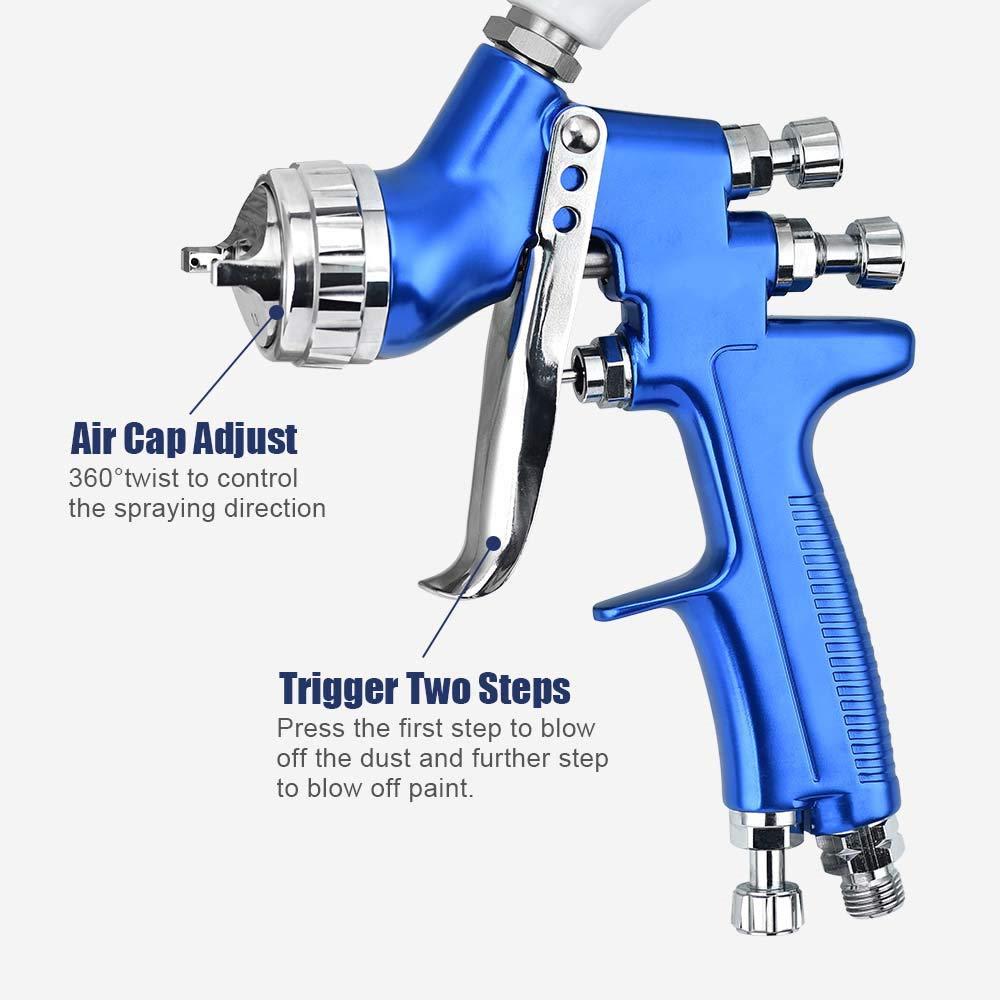 Pistola pulverizadora de pintura de alta presi/ón profesional Pistola pulverizadora de aire Pistola pulverizadora de pintura por gravedad por aire HVLP 600CC Boquillas de 1.3 mm DiyArts