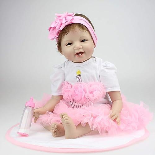 Jiobapiongxin 22 Zoll L eln Gesicht Reborn Babypuppen lebendig lebensechte Puppen realistische Bebe Reborn Babys mädchen Spielzeug mit sch n Kleid JBP-X