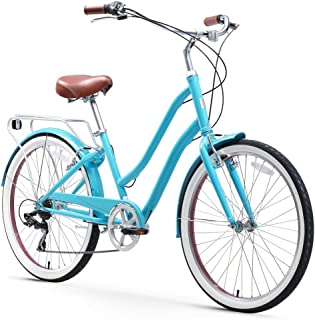 sixthreezero EVRYjourney Steel Women's Hybrid Bike with Rear Rack, 26 Inches, 7-Speed