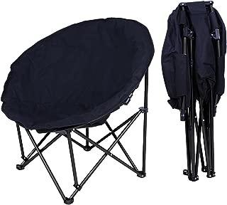 Yescom Folding Moon Chair Saucer Padded Comfort Lounge Bedroom Garden Furniture Black Seat