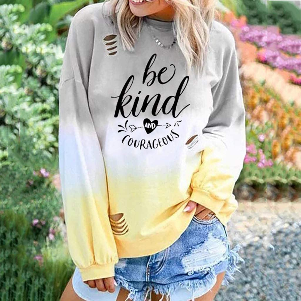 Eduavar Women Fall Tee Tops Womens Fashion Gardient Letter Printed Long Sleeve Round Neck T Shirts Loose Tees Tunic Top