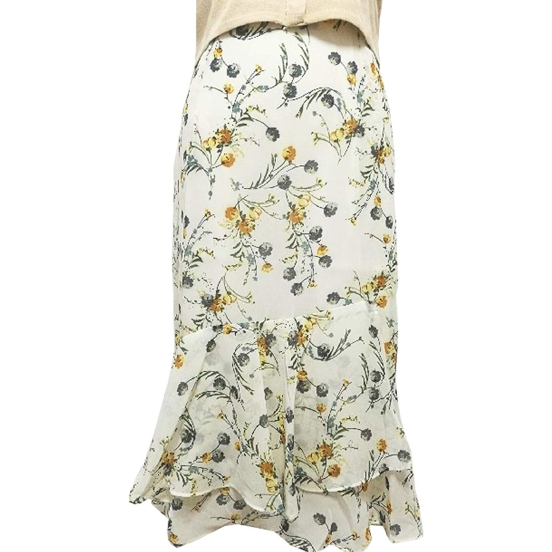 花柄マーメイドフレアスカート ホワイト