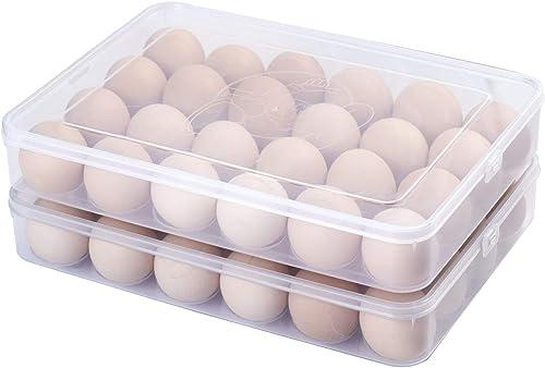 Sooyee - Juego de 2 soportes para huevos cubiertos para nevera, transparente 2 x 24 hueveras desviadas de 2 unidades