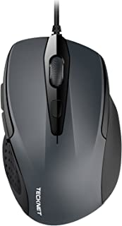 TECKNET 6-Button USB Wired Mouse with Side Buttons, Optical Computer Mouse with 1000/2000DPI, Ergonomic Design, 5ft Cord, ...