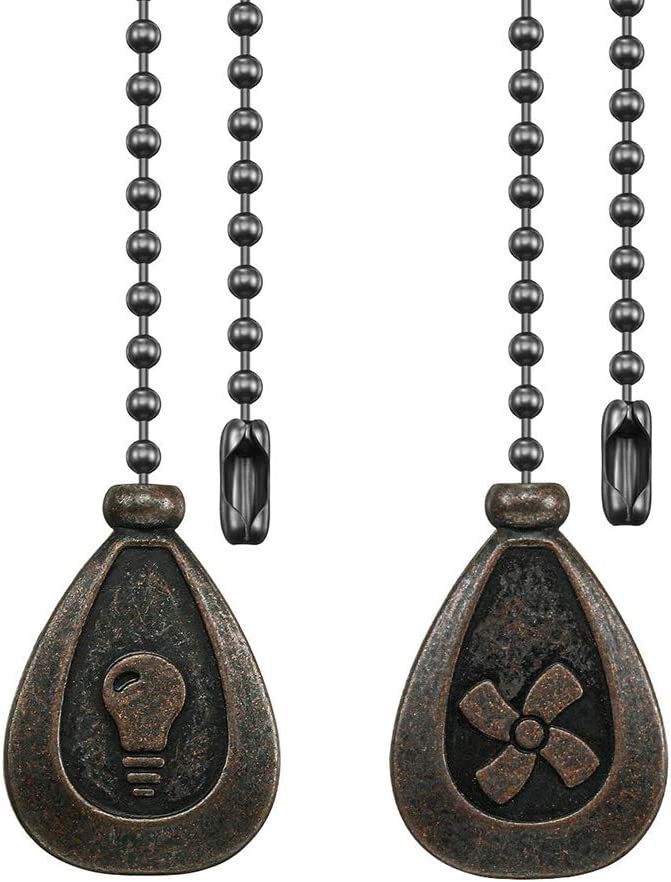 Dotlite Bronze Ceiling Fan Pull Chain Set, Decorative Fan Pull Chain Pendant Extension, 12 Inches Lighting & Fan Beaded Ball Fan Pull Chain Extender with Connector (2 Pack) - -