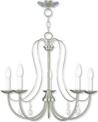 Livex Lighting 4392-35 Legacy 2-Light Convertible Hanging Lantern//Ceiling Mount Brushed Nickel