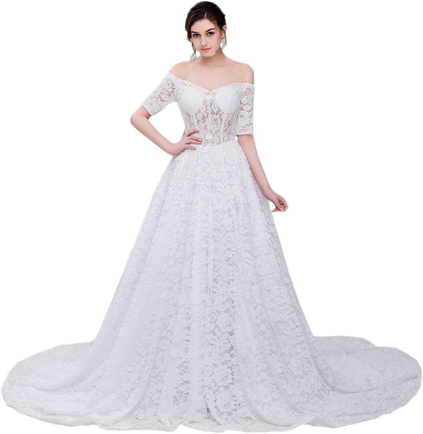 Maricopyjam Women's Carbone Lace Sheer Waist Long Pleated ALine Court Train Wedding Dress with Half Sleeves