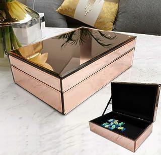 Meetart Mirror Jewelry Box Champagne Rose Gold, Jewelry Storage Organizer, High-end Luxury Small Jewelry Box